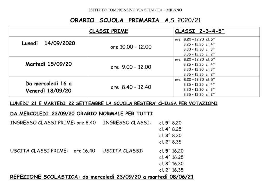 Orari della scuola primaria 2020-21